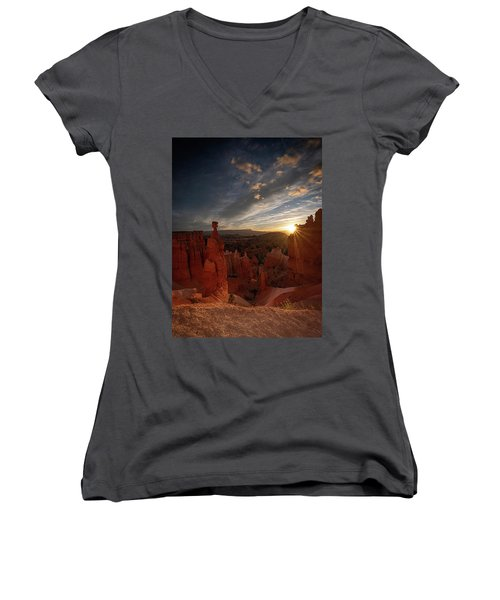 Women's V-Neck featuring the photograph Morning Kiss by Edgars Erglis