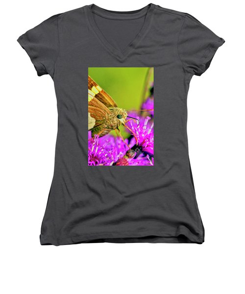 Moth On Purple Flower Women's V-Neck
