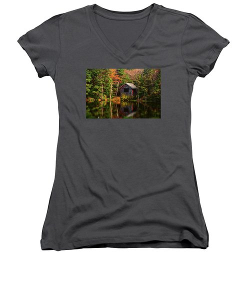 Women's V-Neck (Athletic Fit) featuring the photograph Mount Greylock Cabin by Raymond Salani III