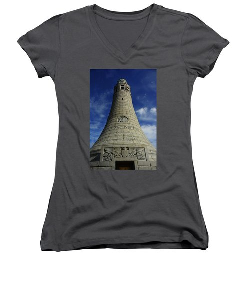 Women's V-Neck (Athletic Fit) featuring the photograph Mount Greylock Tower Up And Close 2 by Raymond Salani III