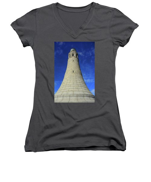 Women's V-Neck (Athletic Fit) featuring the photograph Mount Greylock Tower Up And Close by Raymond Salani III