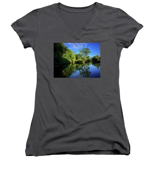 Women's V-Neck featuring the photograph Mount Vernon Iowa by Dan Miller