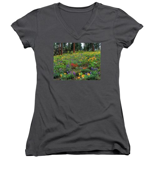 Mountain Wildflowers Women's V-Neck (Athletic Fit)