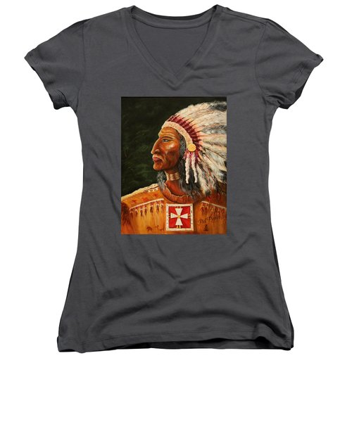 Native American Indian Chief Women's V-Neck