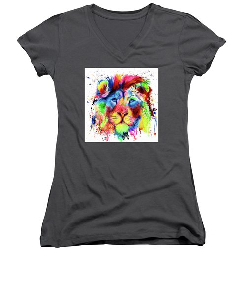 Neon Lion - Colourful Ink Spatter Painting Women's V-Neck