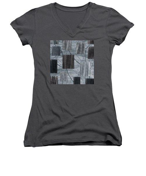 Neutral Toned Leaf Square Print Women's V-Neck