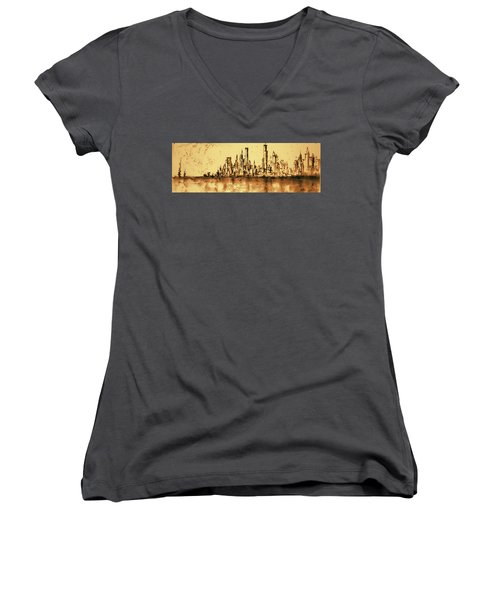 New York City Skyline 79 - Water Color Drawing Women's V-Neck