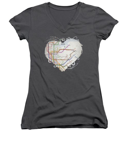 New York City Subway Map Women's V-Neck
