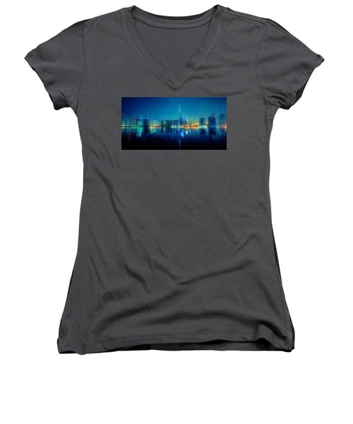 Night Of The City Women's V-Neck
