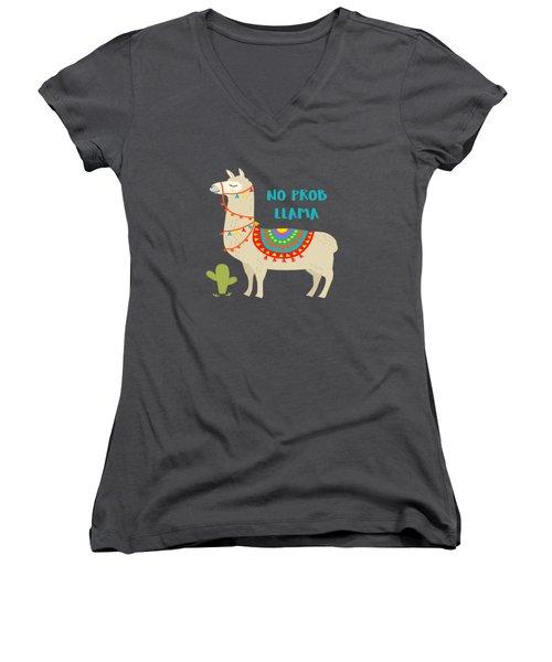 No Prob Llama - Baby Room Nursery Art Poster Print Women's V-Neck