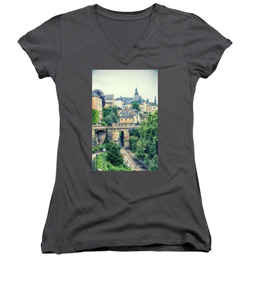 old city Luxembourg from above Women's V-Neck
