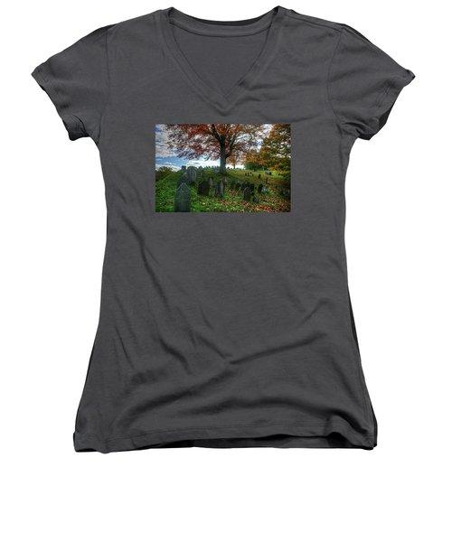 Old Hill Burying Ground In Autumn Women's V-Neck