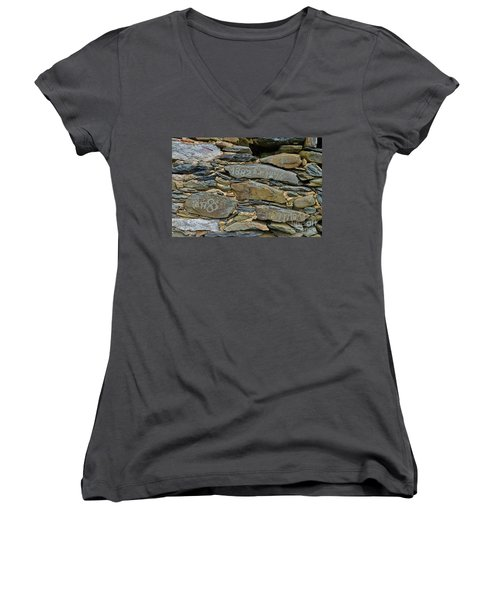 Old Schist Wall With Several Dates From 19th Century. Portugal Women's V-Neck