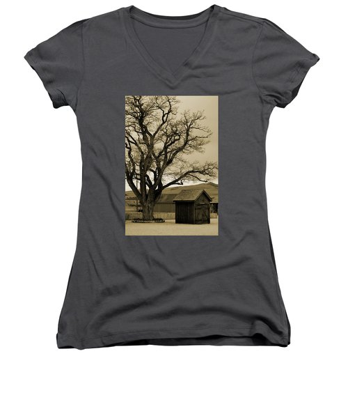 Old Shanty In Sepia Women's V-Neck