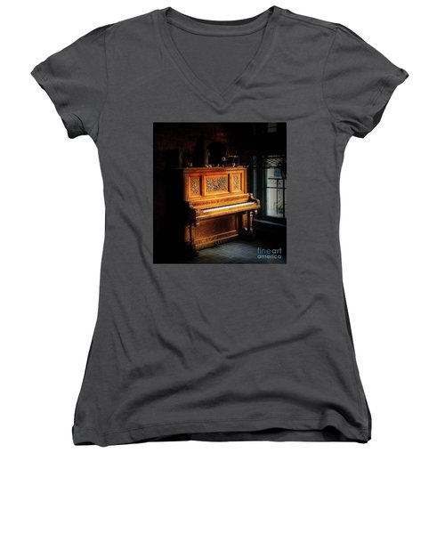 Old Wooden Piano Women's V-Neck