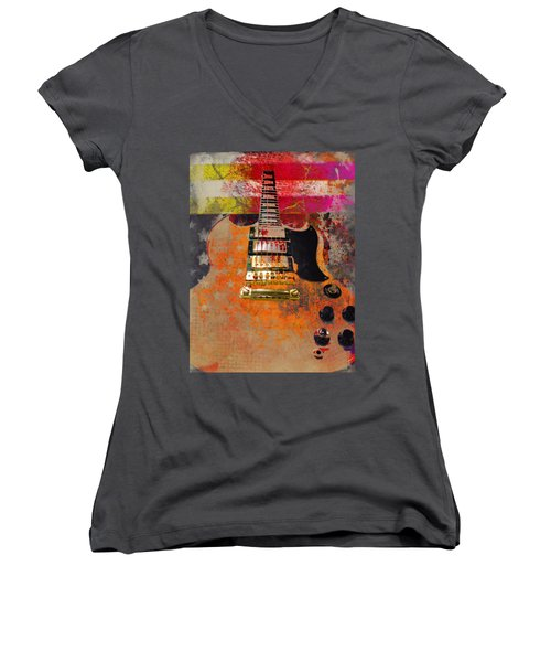 Orange Electric Guitar And American Flag Women's V-Neck