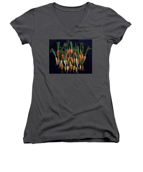 Organic Rainbow Carrots Women's V-Neck