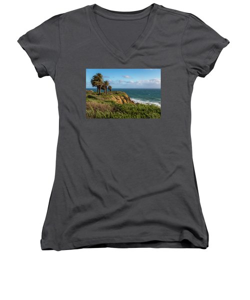 Palm Trees Blowing In The Wind Women's V-Neck