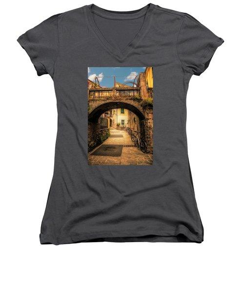 Passageway In Monterosso Women's V-Neck