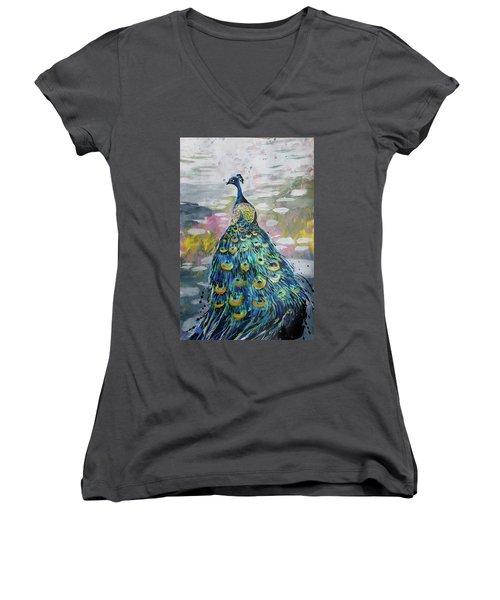 Peacock In Dappled Light Women's V-Neck