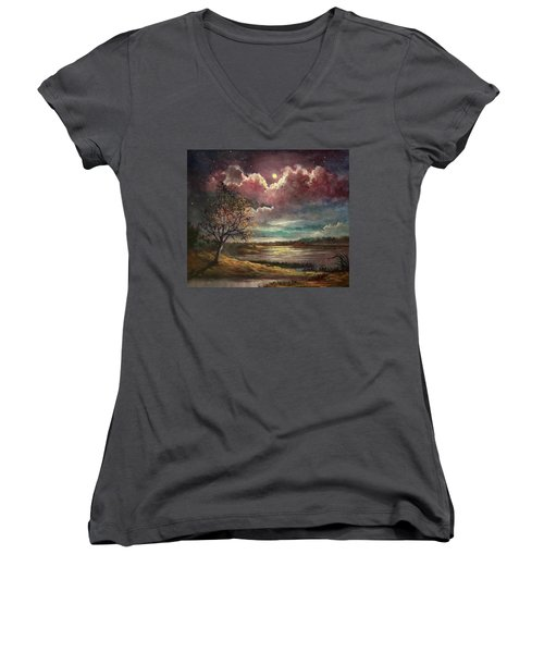 Pearl Of The Night Women's V-Neck