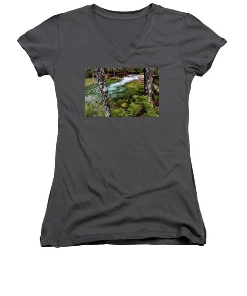 Women's V-Neck featuring the photograph Pemigewasset River, Basin Trail Nh by Michael Hubley