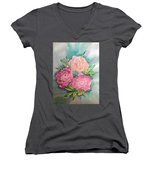 Peonie Roses Women's V-Neck