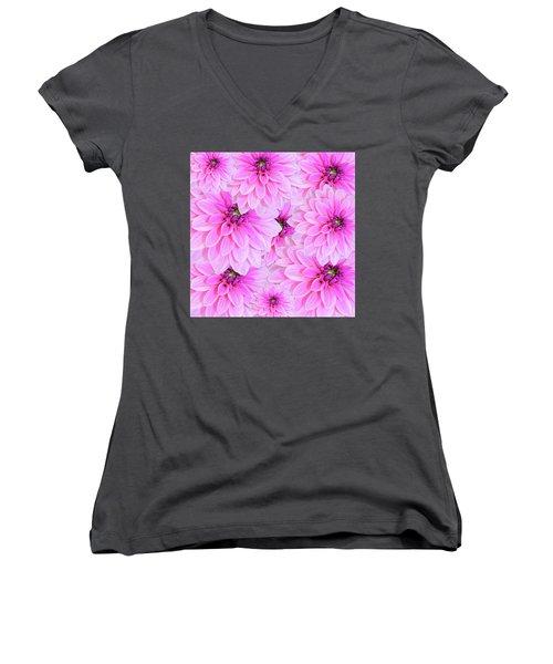 Pink Dahlia Flower Design Women's V-Neck