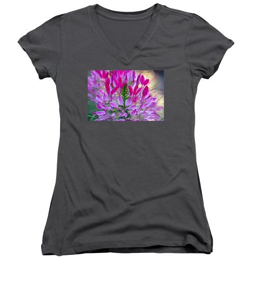 Pink Queen Flower Women's V-Neck