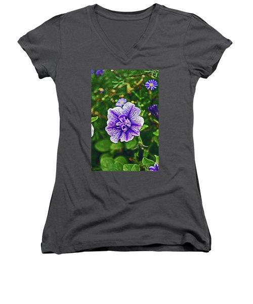 Pitlochry.  Purple Petunia. Women's V-Neck