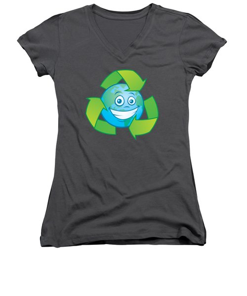 Planet Earth Recycle Cartoon Character Women's V-Neck
