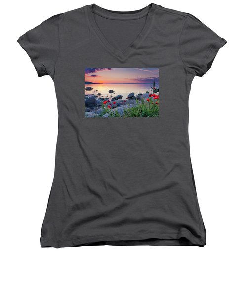 Poppies By The Sea Women's V-Neck