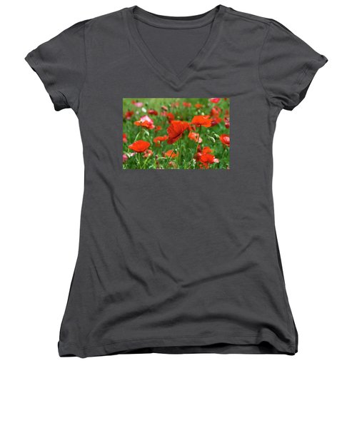 Poppies In The Field Women's V-Neck