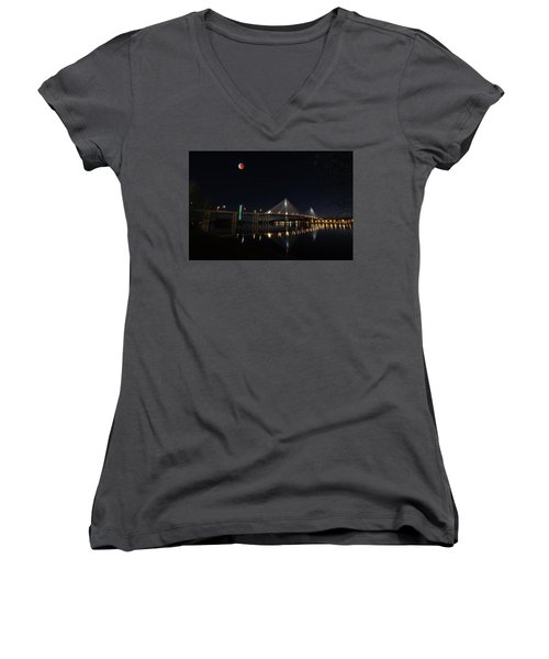 Port Mann Bridge With Blood Moon Women's V-Neck