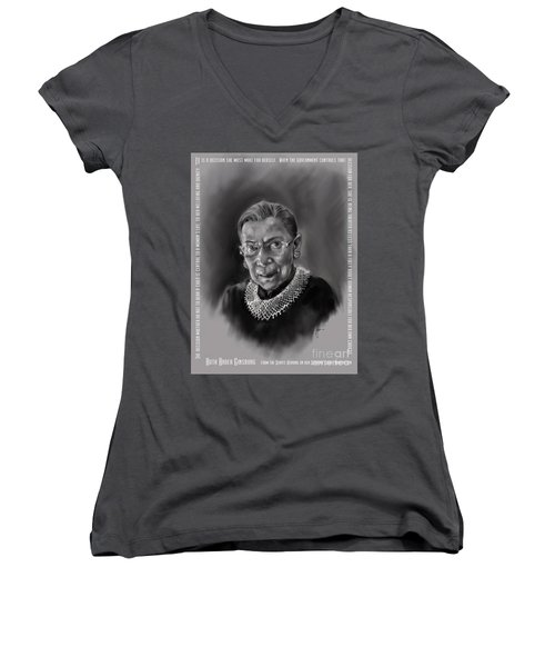 Portrait Of Ruth Bader Ginsburg Women's V-Neck