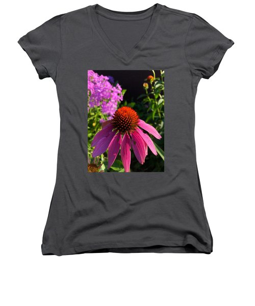 Women's V-Neck featuring the photograph Purple Coneflower by Lukas Miller
