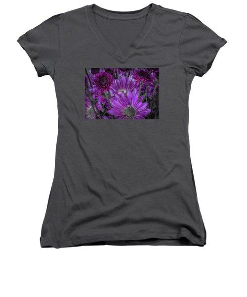 Purple Power Chrysanthem Selective Colorum  Women's V-Neck