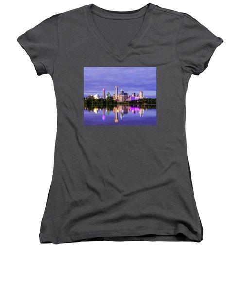 Purple Rain City Of Dallas Texas Women's V-Neck