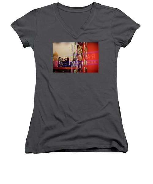 Women's V-Neck featuring the photograph Radio City Reflection by Steve Stanger