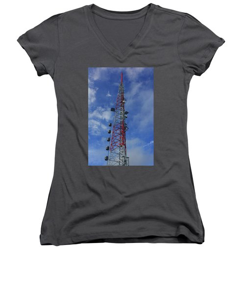 Women's V-Neck (Athletic Fit) featuring the photograph Radio Tower On Mount Greylock by Raymond Salani III