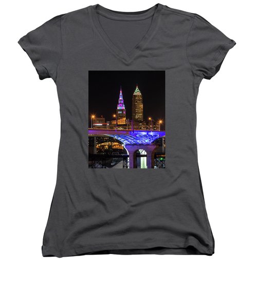 Rainbow Tower In Cleveland Women's V-Neck