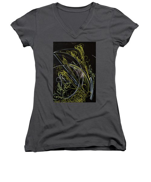 Rays Of The Sun. Calligraphic Abstract Women's V-Neck