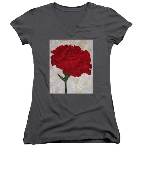 Red Carnation Women's V-Neck