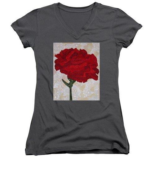 Red Carnation Women's V-Neck