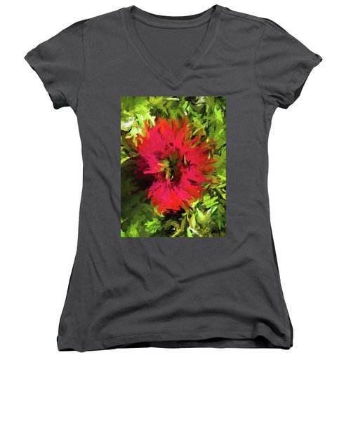 Red Flower Flames Women's V-Neck (Athletic Fit)