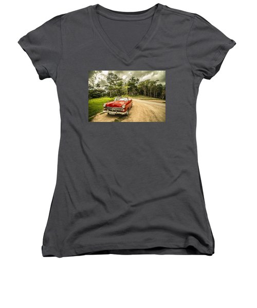 Red Vintage Car Women's V-Neck