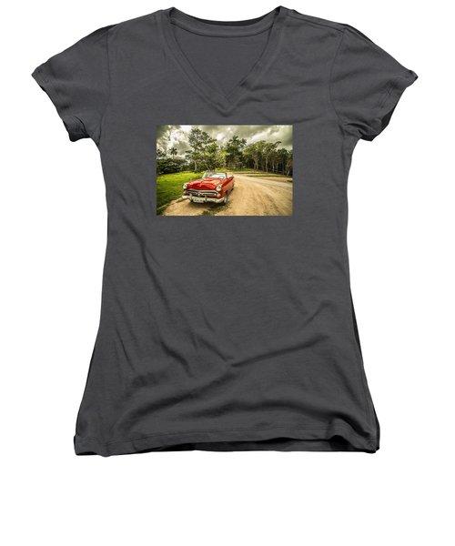 Red Vintage Car Women's V-Neck