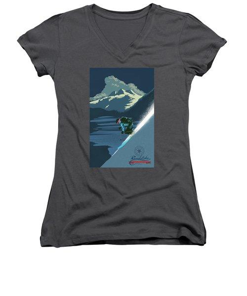 Retro Revelstoke Ski Poster Women's V-Neck