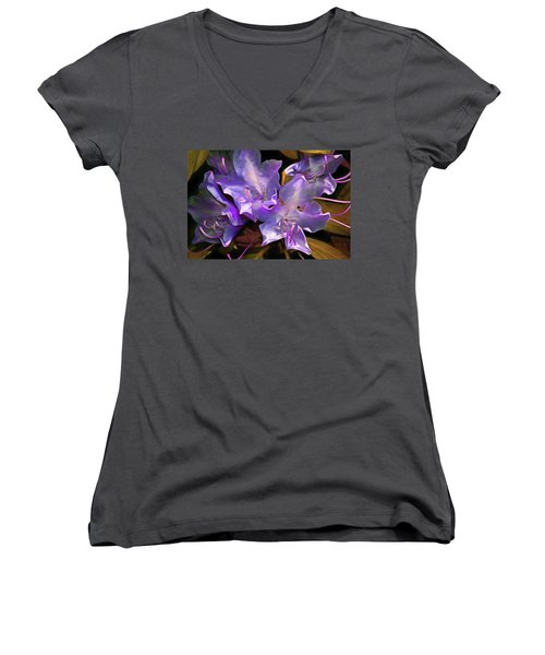 Women's V-Neck featuring the mixed media Rhododendron Glory 17 by Lynda Lehmann