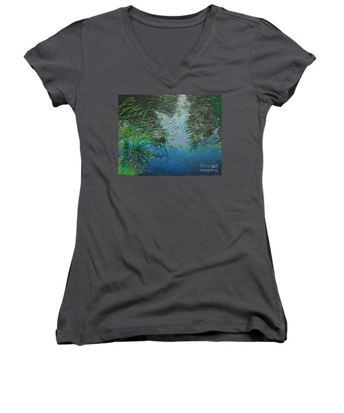 River ...ripples And Reeds Women's V-Neck